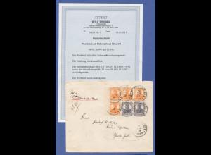 Dt. Reich Infla Germania HBL 16ba AO auf portogerechtem Wertbrief, Attest Tworek
