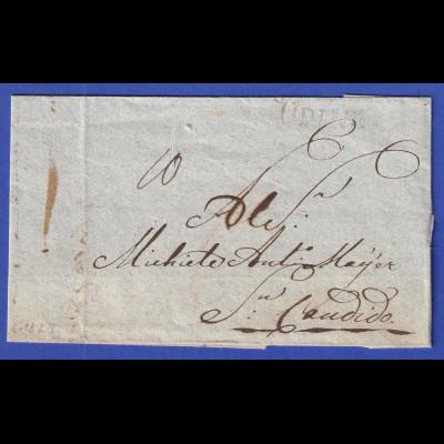 Österreich Geschäftsbrief mit Einzeiler UDINE 1824