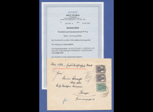 Dt. Reich Infla Germania ZSD W9 aa auf portogerechtem Wertbrief, Attest Tworek