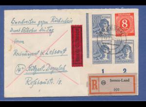 All.-Besetzung Eil-R-Rückschein-Brief gel. von Seesen nach Stuttgart, 248Pfg