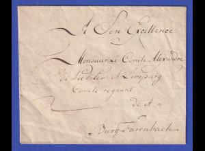 Bayern Brief an Graf Alexander von Pückler und Limpurg, wohl 1793
