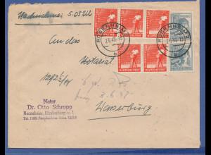 All.-Besetzung Nachnahme-Brief am 2.6.48 gel. von Rosenheim nach Wasserburg