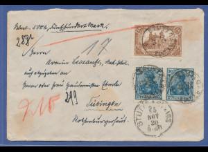 Dt. Reich Mi.-Nr. 114 c gute Farbe in MIF auf portoger. Wertbrief, gepr. Infla