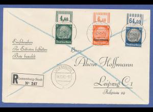 Dt. Besetzung 2.WK Luxemburg R-Express-Brief mit 3 Hindenburg-Oberrandstücken