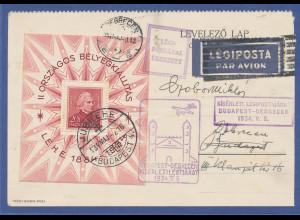 Ungarn Block 1 gestempelt auf Flugpostkarte vom 9. Mai 1934 gel. nach Debrecen