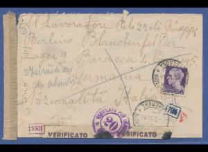 Brief aus Italien an KGF-Lager in Blanckenfelde, 9.Nov.1944, zurück , Zensur