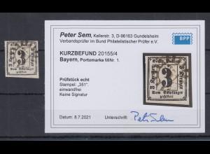 Bayern Portomarke 3 Kreuzer Mi.-Nr. 1 mit GMR 351, einwandfrei, Befund Sem BPP