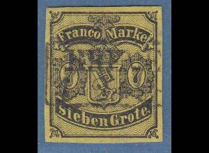 Bremen 1860 7 Grote Mi.-Nr. 3a sauber gest. BREME(N), Attest Heitmann BPP