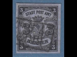 Bremen 1855 3 Grote Mi.-Nr. 1y mit Rahmen-O, Befund Heitmann BPP