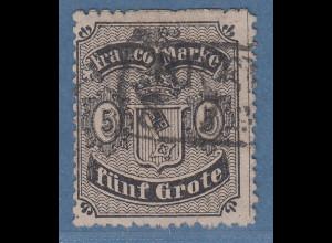 Bremen 1867 5 Grote gez. Mi.-Nr. 12 mit Rahmen-O, Befund Heitmann BPP
