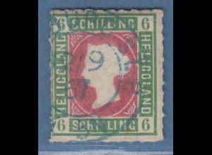 Helgoland 1867 6 Schilling Mi.-Nr. 4 mit blauem 2-Kreis-O Hamburg, Attest BPP