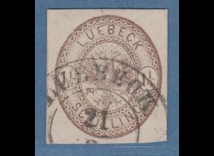 Lübeck 1864 Mi.-Nr. 13b gestempelt, bestens signiert Heitmann BPP