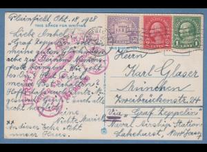 USA Zeppelin Karte von 1928 gelaufen von Plainfield NJ nach München