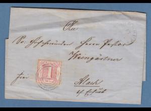 Thurn und Taxis 1Sgr. karminrot Mi.-Nr. 38 auf Brief von Ohrdruf nach Alach