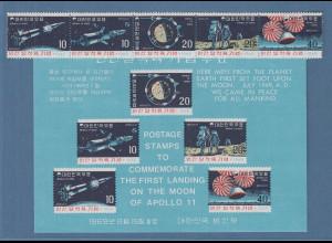 Korea Süd 1969 Mondlandung Apollo 11 Mi.-Nr. 664-68 und Block 285 **
