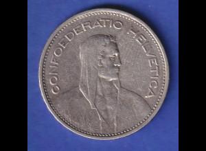 Schweiz Silbermünze 5 Franken Wilhelm Tell Confoederatio Helvetia 1932 B