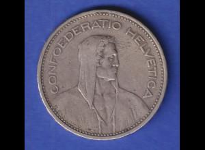 Schweiz Silbermünze 5 Franken Wilhelm Tell Confoederatio Helvetia, 1932 B