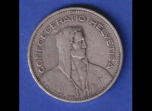 Schweiz Silbermünze 5 Franken Wilhelm Tell Confoederatio Helvetia 1933 B