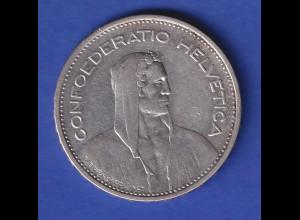 Schweiz Silbermünze 5 Franken Wilhelm Tell Confoederatio Helvetia, 1933 B