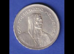 Schweiz Silbermünze 5 Franken Wilhelm Tell Confoederatio Helvetia 1954 B