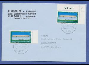 Bundesrepublik Jugend 1978 Zeppelin 40Pfg-Wert als portoger. MEF nach Österreich