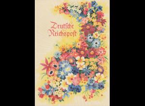 """Dt. Reich 1940 Schmuckblatt-Telegramm """"Blumen"""" gebraucht in Top-Zustand"""