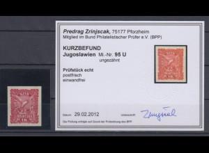 Jugoslawien, Ausgaben für Kroatien Mi.-Nr. 95 ungezähnt, KB Zrinjscak