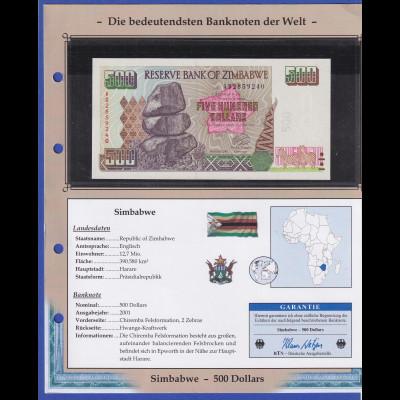 Zimbabwe 2001 Banknote 500 Dollar