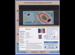 Rumänien 1999 Banknote 2000 Lei aus Polymer-Material, Sonnensystem