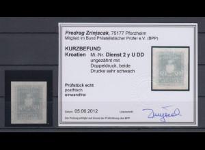Kroatien / Hrvatska Dienstmarke Mi.-Nr. 2y ungezähnt Doppeldruck KB Zrinjscak