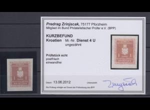Kroatien / Hrvatska Dienstmarke Mi.-Nr. 4 ungezähnt gepr. mit KB Zrinjscak