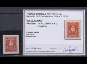 Kroatien / Hrvatska Dienstmarke Mi.-Nr. 4x ungezähnt gepr. mit KB Zrinjscak