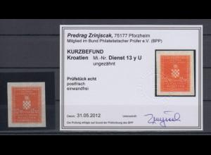 Kroatien / Hrvatska Dienstmarke Mi.-Nr. 13y ungezähnt gepr. mit KB Zrinjscak