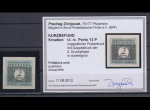 Kroatien / Hrvatska Portomarke Mi.-Nr. 13 ungezähnter Probedruck g KB Zrinjscak
