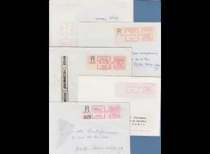 Frankreich Schalterfreistempel SFS auf weißem Papier, Lot 11 Belege 1980-87