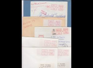 Frankreich Schalterfreistempel SFS auf weißem Papier, Lot 13 Belege 1981-87