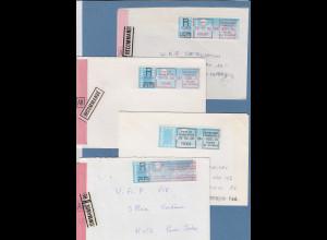 Frankreich Schalterfreistempel SFS auf blauem Taube-Papier, Lot 6 Belege 1985-88