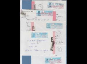 Frankreich Schalterfreistempel SFS auf blauem Taube-Papier Lot 10 Belege 1986-88