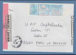 Frankreich SFS auf blauem Taube-Papier, Vordruck versetzt ! auf R-AR-Brief 1987