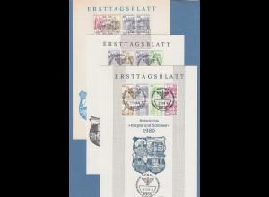Bund Burgen&Schlösser Heftchenblätter HBL 26,27,28 auf 3 privaten ETB