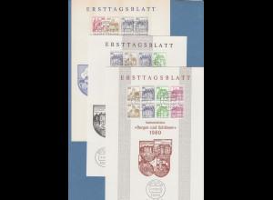Berlin Burgen&Schlösser Heftchenblätter HBL 18,19,20 auf 3 privaten ETB