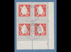 Bundesrepublik Mitra Mi.-Nr. 199 gestemp. Eckrandviererblock mit Formnummer 1