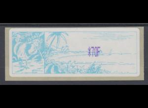 Neukaledonien ATM mit violettem Werteindruck *70F, Mi.-Nr. 1.2f **