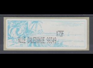 Neukaledonien ATM mit schwarzem Werteindruck NLLE CALEDONIE *75F, Mi-Nr. 1.3e **