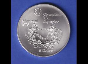 Silbermünze Kanada 1974 Olympiade Montreal 5 Dollar Lorbeerkranz 24,3g Ag925