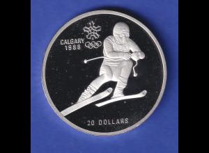 Silbermünze Kanada 1985 Olympiade Calgary 20 Dollar Skifahrer 34,1g Ag925