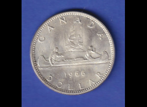 Silbermünze Kanada 1966 Kanu 1 Dollar 23,3g Ag800