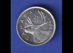 Silbermünze Kanada 1965 Rentierkopf 25 Cent 5,8g Ag800