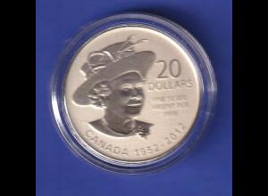 Silbermünze Kanada 2012 Queen Elisabeth II. 20 Dollars in Kapsel ca. 8g Ag999.9