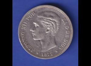 Silbermünze Spanien 1877 König Alfons XII. 5 Pesetas 24,8gAg900